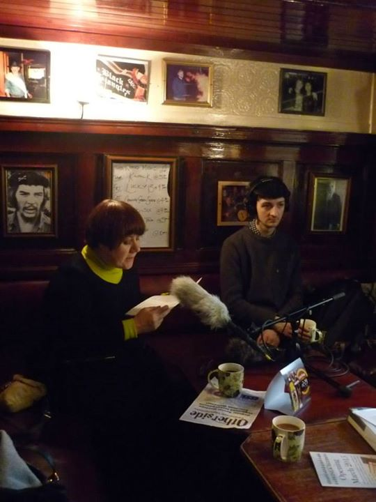 Niall Morris recording Louise Welsh reading Demonic Berlin at the Scotia Bar