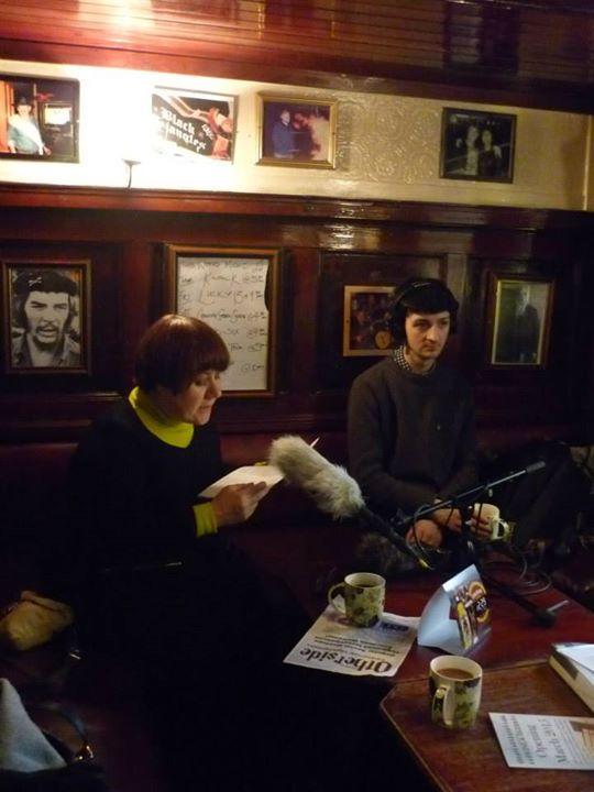 Niall Morris recording Louise Welsh reading Demonic Berlin at the Scotia Bar